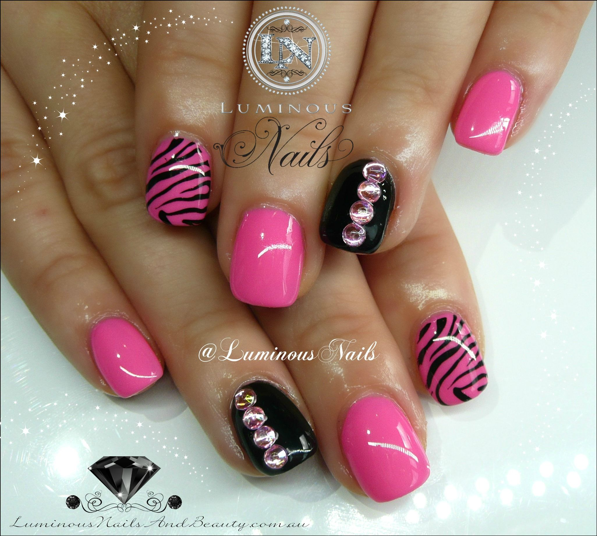Cute Hot Pink Black Nails With Zebra Print Bling Nails Design With Rhinestones Luminous Nails Pink Black Nails