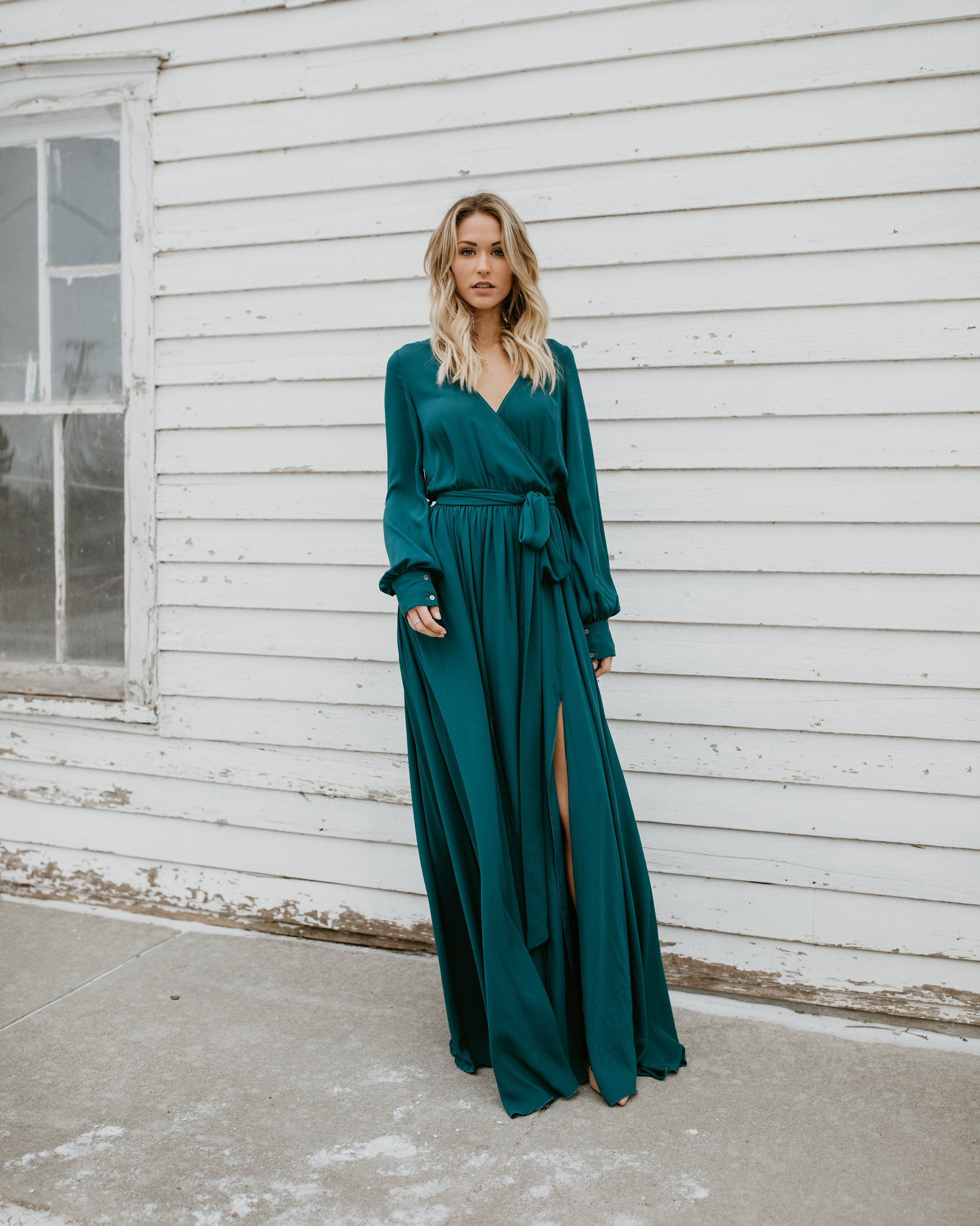 ce2ae4b8ba1 V-neck Long Sleeves Belted Maxi Dress – chicbohodress