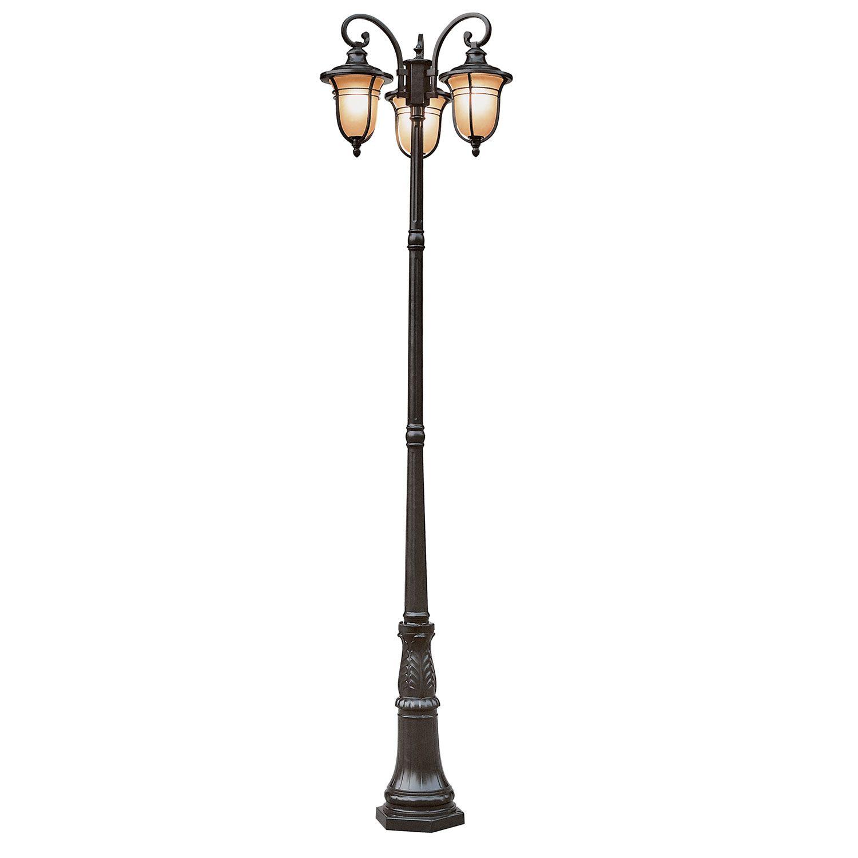 Outdoor Post Lighting Amber Drop 3 Lantern Lamp By