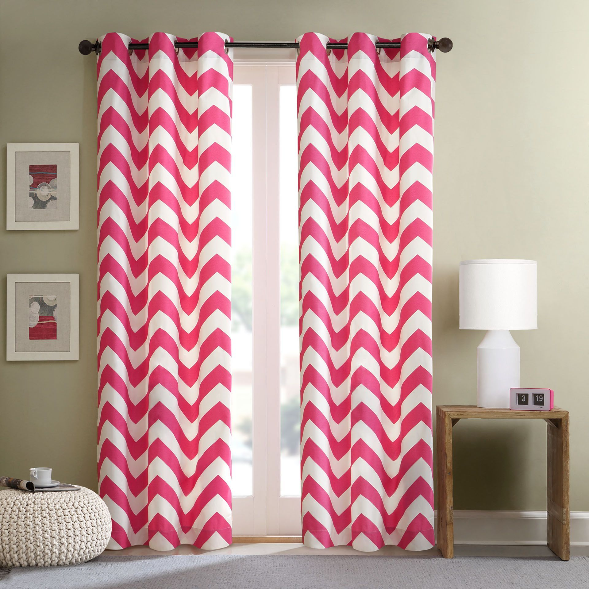 Intelligent Design Virgo Pink Chevron Window Curtain Panel Set Of 2 42 Inches X 63 Inches Pink Size 42 X 63 I Love Pink Pinterest Cortinas And Cool
