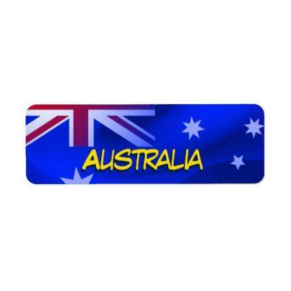 australian flag label australian flags and return address