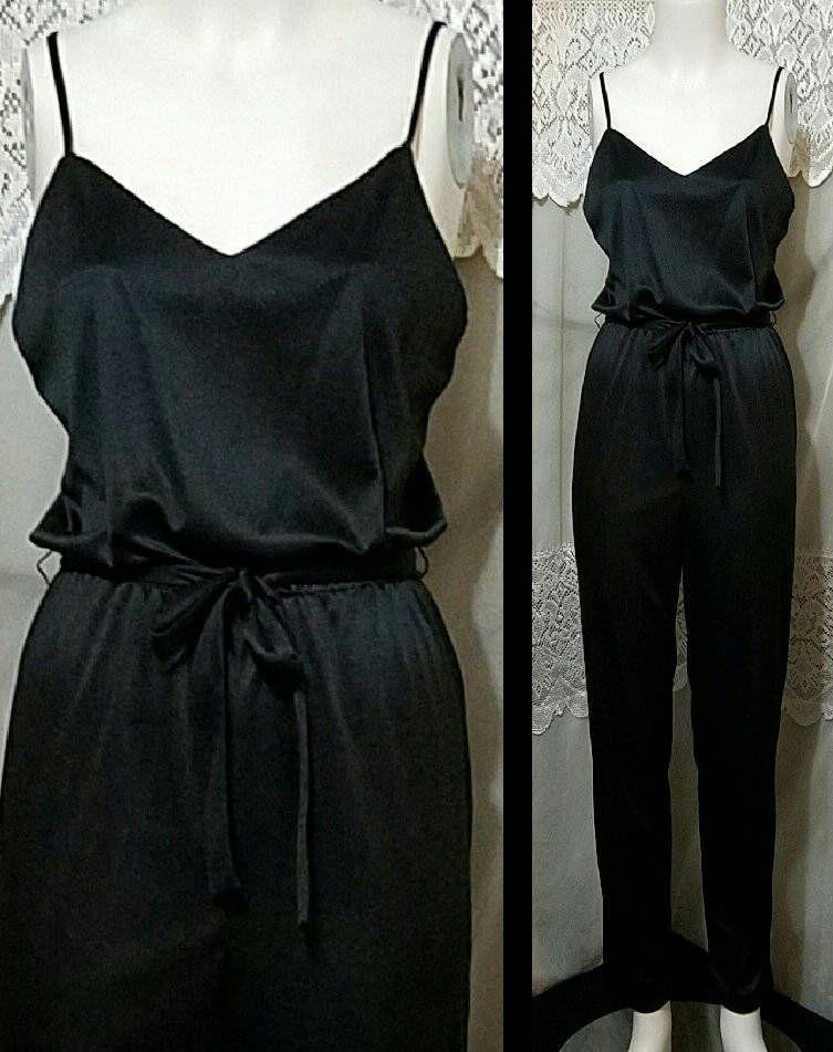 Vintage 70s 80s Jumpsuit 2pc Set Spaghetti Strap High Waist Jumpsuit
