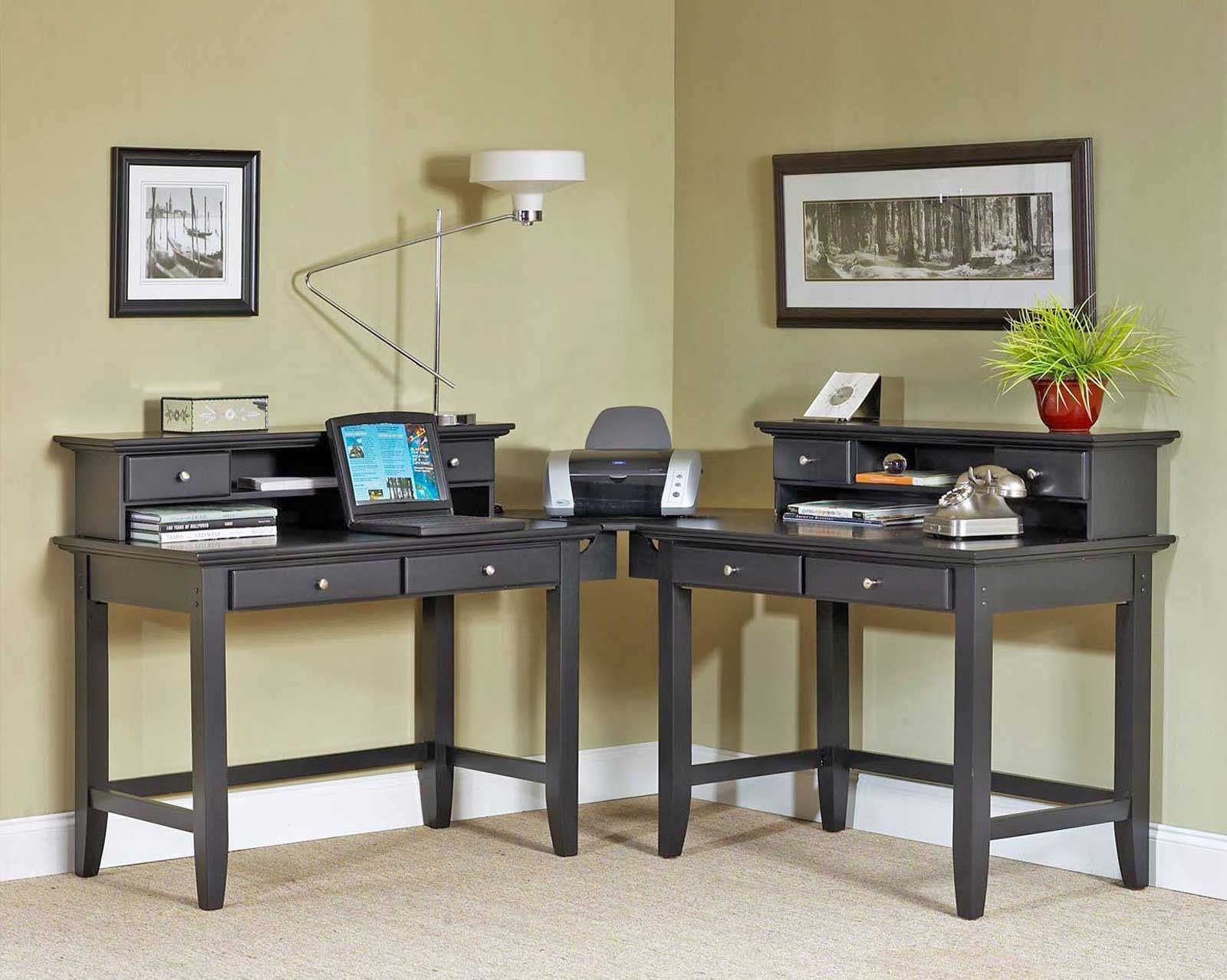 Home Styles Bedford Corner Desk Student Workstation - Ebony