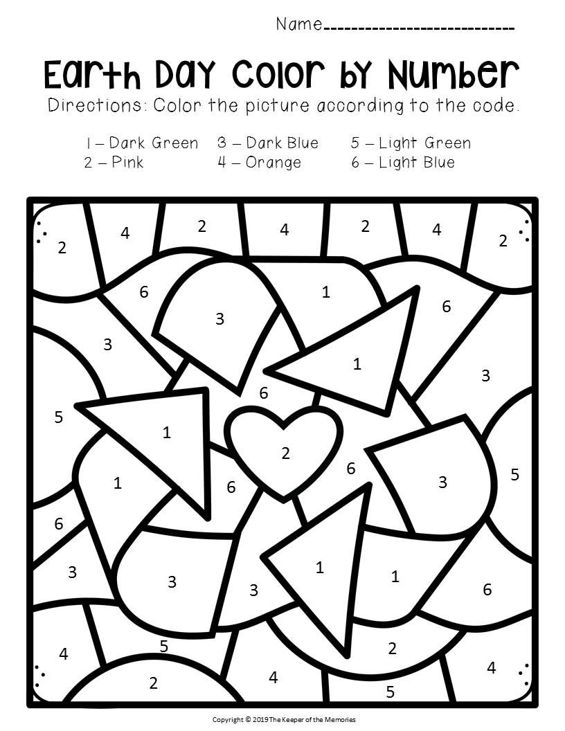 Free Printable Color By Number Earth Day Preschool Worksheets Earth Day Worksheets Earth Day Projects Earth Day Activities [ 1056 x 816 Pixel ]