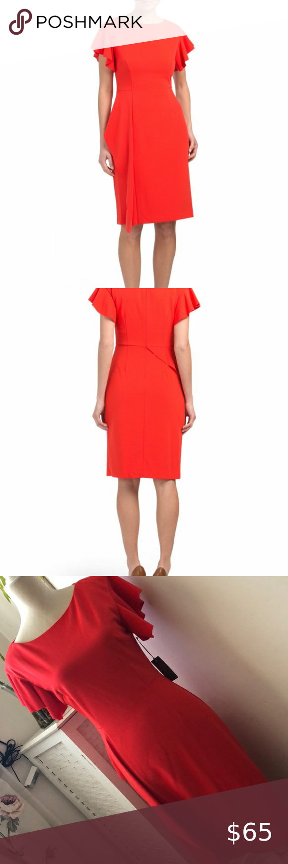 Vince Camuto Red Side Ruffle Dress Nwt Side Ruffle Detail Fabric Provides Stretch Flutter Sleeve Boat Neck Col Ruffle Dress Womens Dresses Vince Camuto Dress [ 1740 x 580 Pixel ]