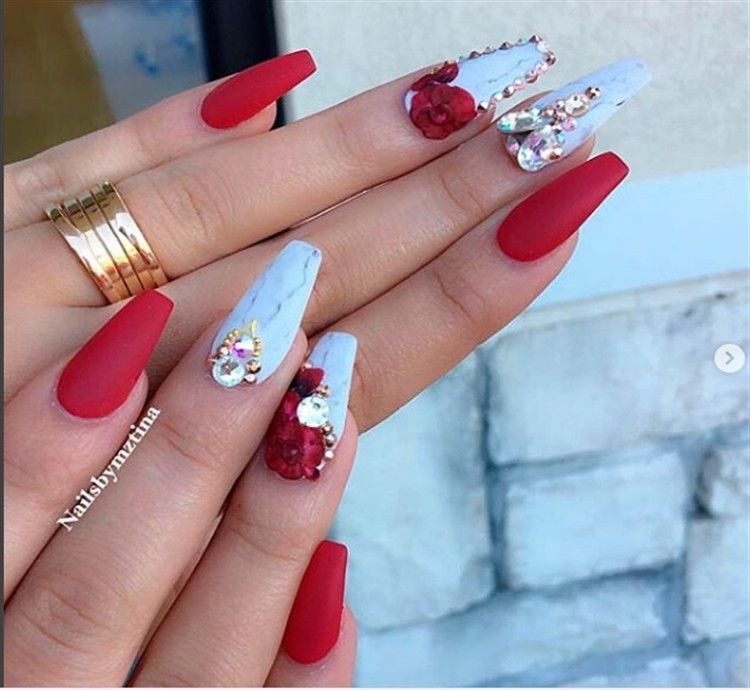 #red #acrylic #red_acrylic_nails #nail_art_design - 30+Pretty Red Acrylic Nail Art Design Ideas Fashion Nails
