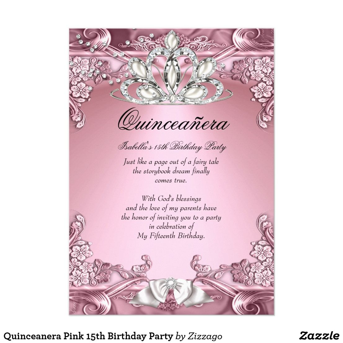 Quinceanera pink 15th birthday party card 15th birthday party quinceanera pink 15th birthday party card stopboris Choice Image