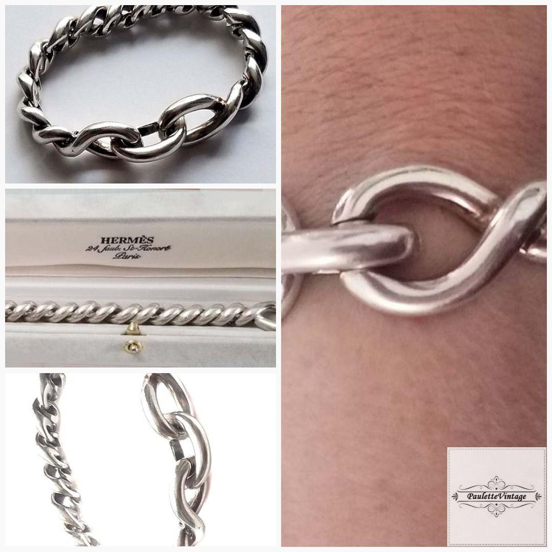 Hermes Silver Twist Bracelet Massive 80 90 Years Etsy Twisted Bracelet Bracelets Hermes Bracelet