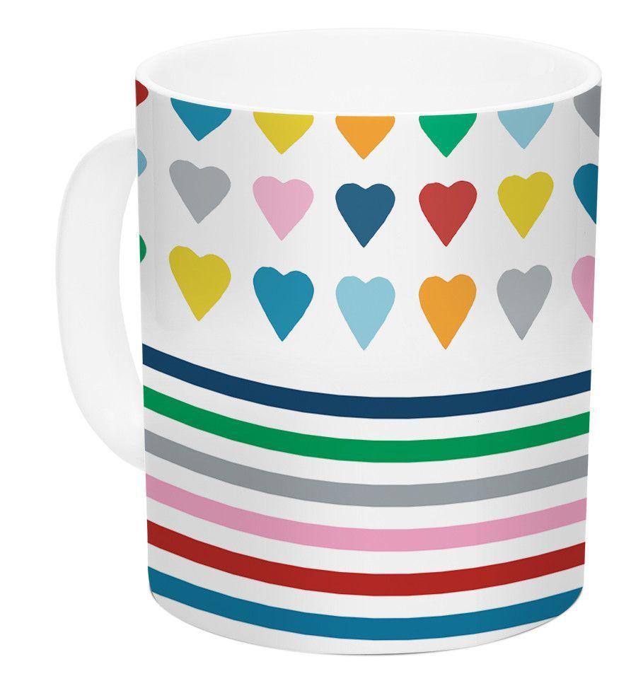 Heart Stripes by Project M 11 oz. Shapes Ceramic Coffee Mug