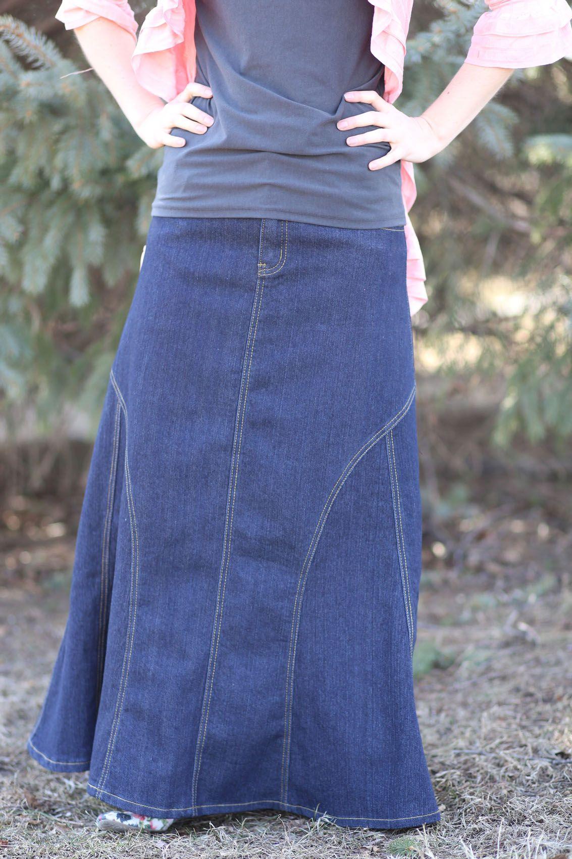 5562aee4e3 Darling Denim Indigo Modest Skirt | Long Jean Skirt Plus Size 20 Long Denim  Skirts,