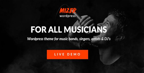 We want to present you a professional and an awesome Mizer WordPress Theme for musicians, deejays, singers, bands. Our product has a modern design and is very flexible thereby allowing you to custo...