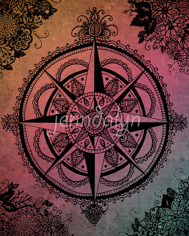 Boho Chic Wall Decor : Jenndalyn art compass rose wall wanderlust poster