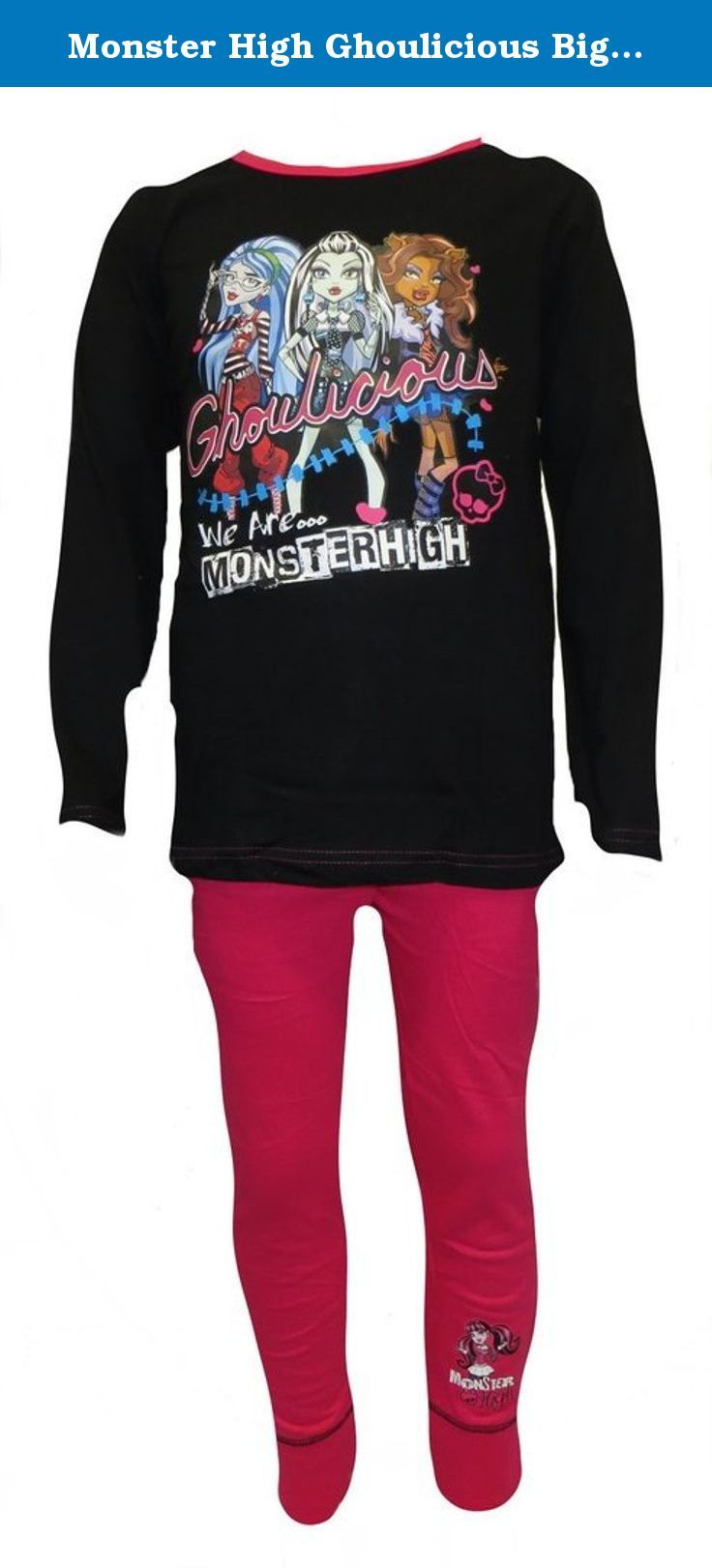 Monster High Ghoulicious Big Girl's Pyjamas 5-6 Years. Monster High Girl's pyjamas with a black long sleeved top and pink long leg pants. These pyjamas are made from 100% cotton. Available in ages: 5-6 (116cm), 7-8, (128cm) and 9-10 (140cm), 11-12 Years (152cm).