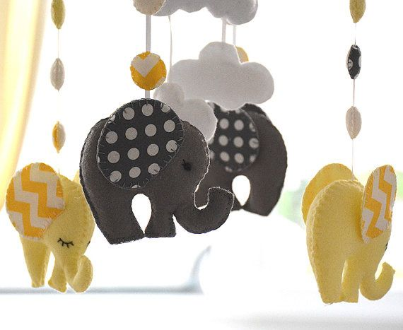 Nursery Mobile  Baby Mobile  Yellow/ Grey by FlossyTots on Etsy