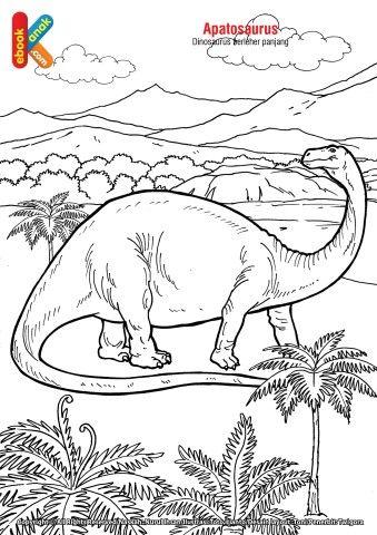 Mewarnai Dinosaurus T Rex : mewarnai, dinosaurus, Dinosaurus, Apatosaurus, Mewarnai,, Dinosaurus,, Warna