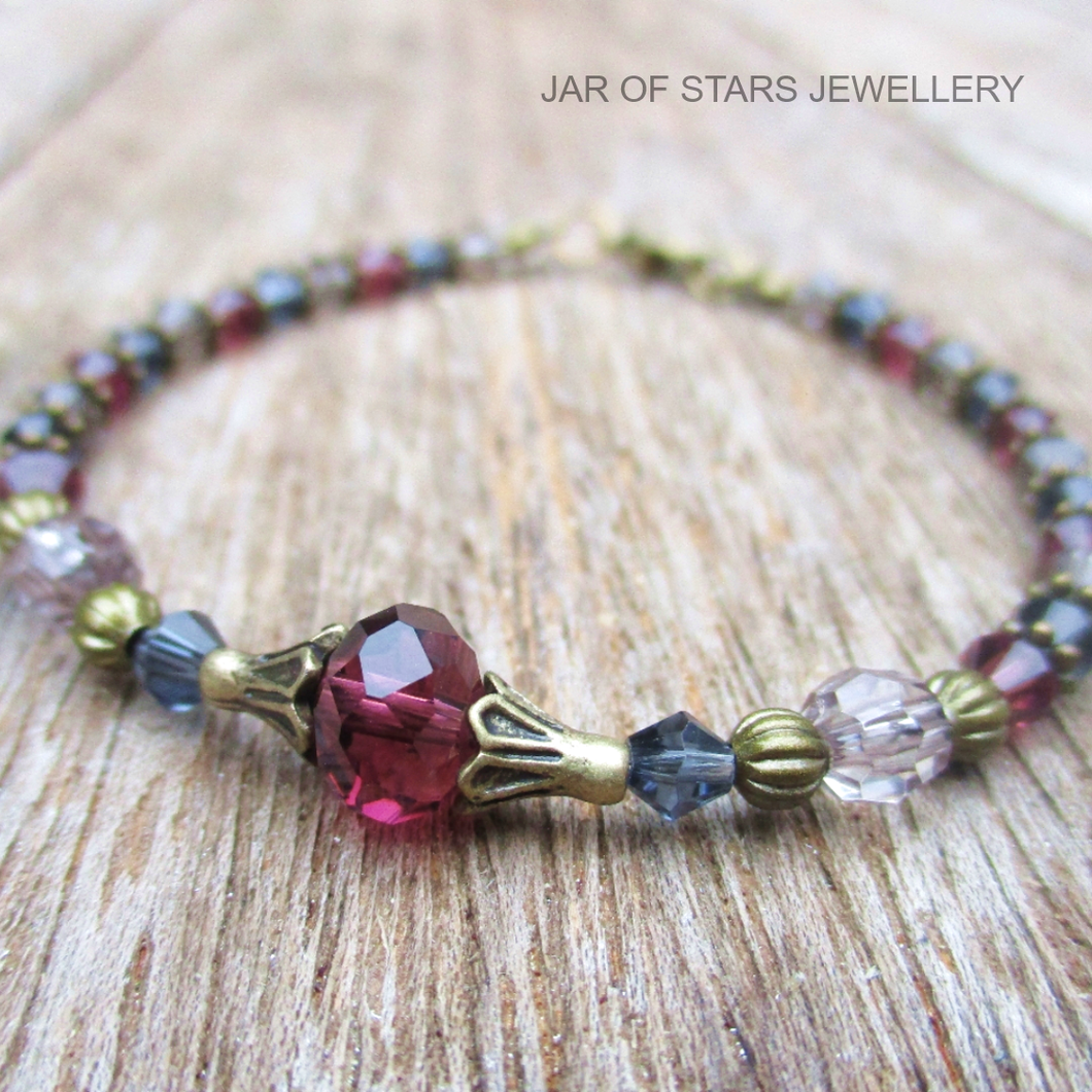 Jar of stars jewellery boho purple and grey crystal beaded bracelet