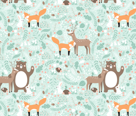 Colorful fabrics digitally printed by Spoonflower Forest