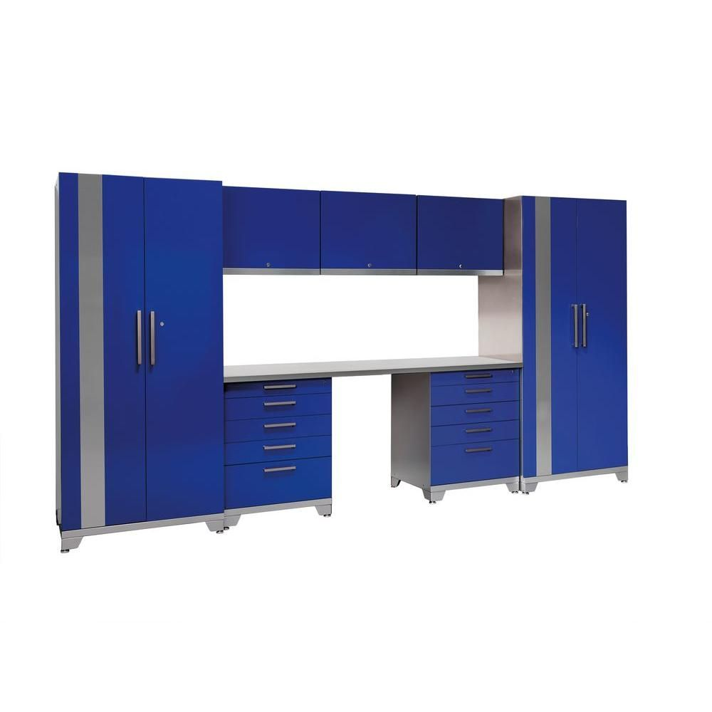 Performance Plus 83 in. H x 156 in. W x 24 in. D Steel Garage Cabinet Set in Blue (8-Piece), Silver