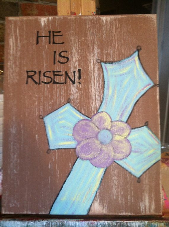 He is risen canvas painting on Etsy, $20.00