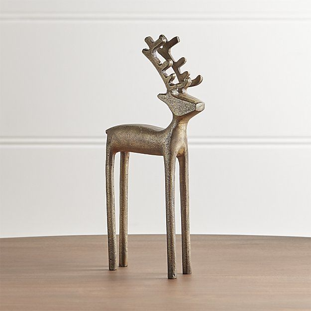 "10.5"" Brass Reindeer   Crate and Barrel"