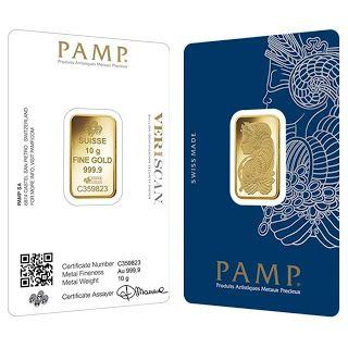 10 Gram Gold Bar Pamp Suisse Lady Fortuna Veriscan 9999 Fine In Assay Arnes