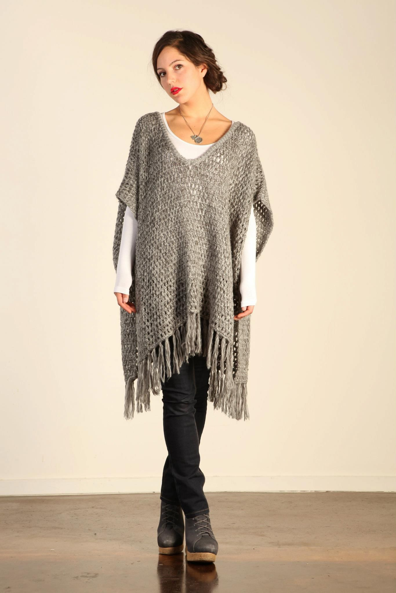 Sadie Grey Knit Poncho. For item not pattern. Make a crochet one ...