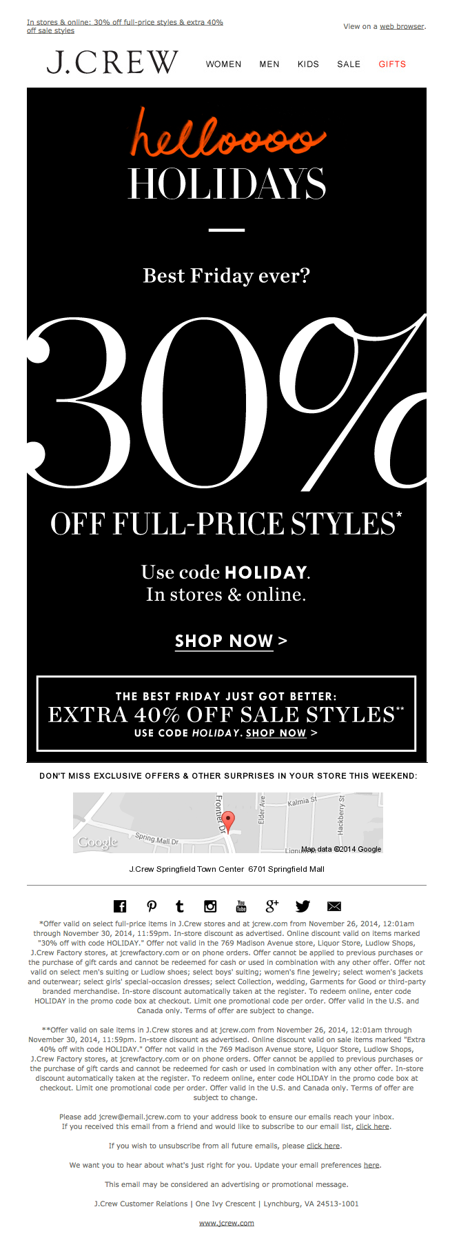 J Crew Black Friday Email Nov 28 2014 Today Is The Day To Shop 30 Off In Stores On Black Friday Email Design Black Friday Email Black Friday Design