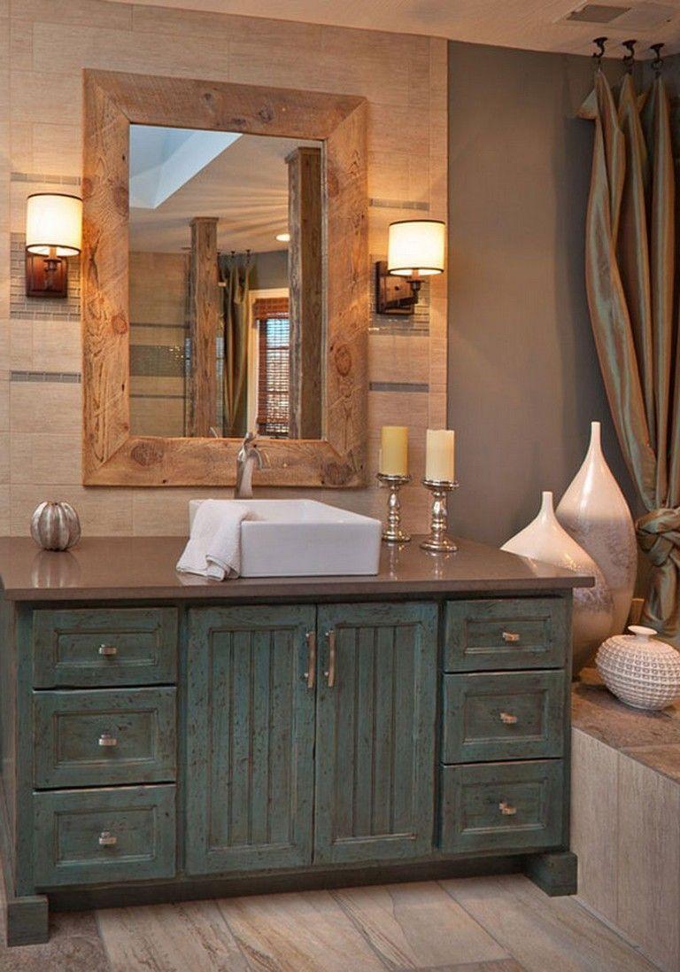 65 Beautiful Rustic Farmhouse Style Bathroom Design Ideas Farmhousestyle Bathroomdesig Bathroom Farmhouse Style Shabby Chic Bathroom Bathroom Vanity Remodel