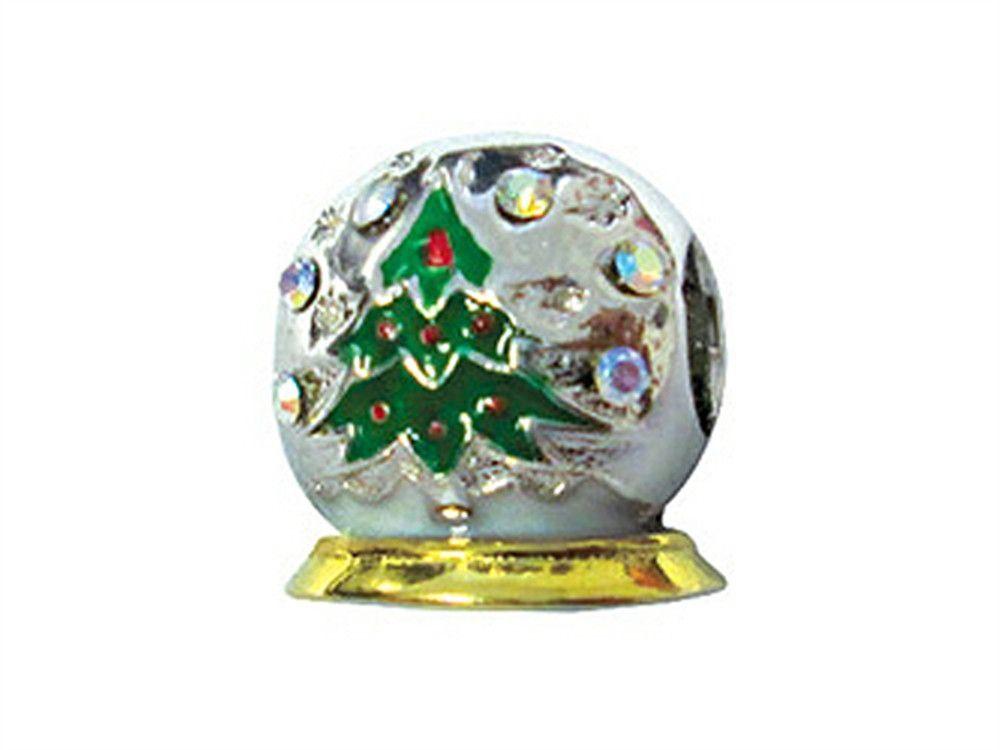 925 Sterling Silver Charm Bracelet Enameled Christmas Tree Bead Holiday