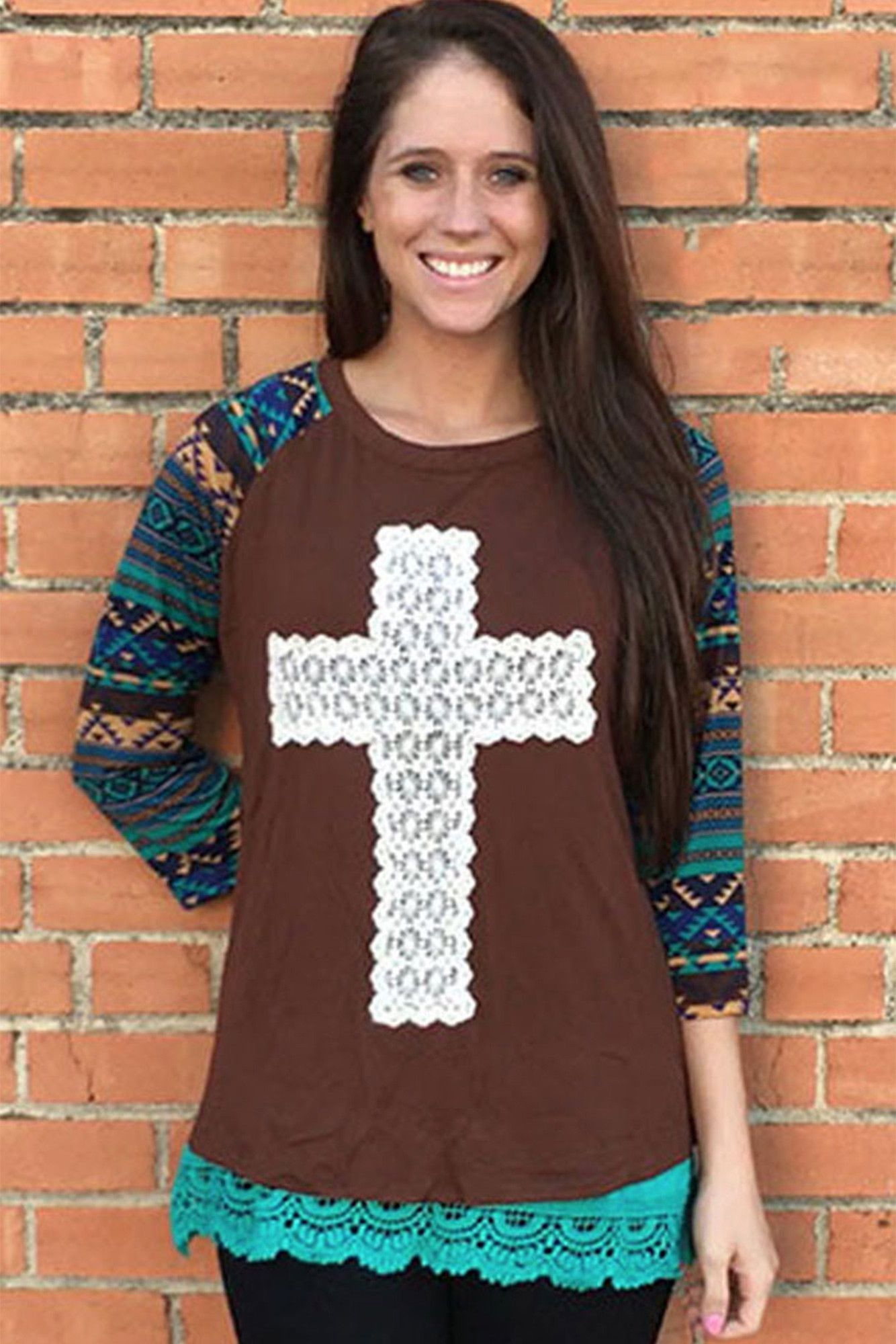 8d2a4940bf501e Southern Grace Crochet Cross with Navajo Sleeves Raglan #3015B *Choose Your  Size