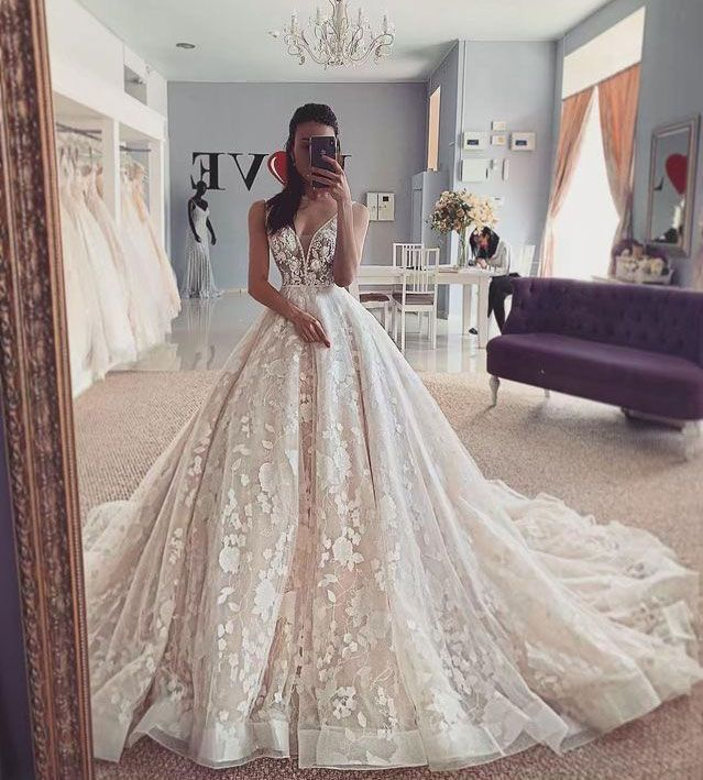 V Neck Wedding Dresses with Appliques Flowers from