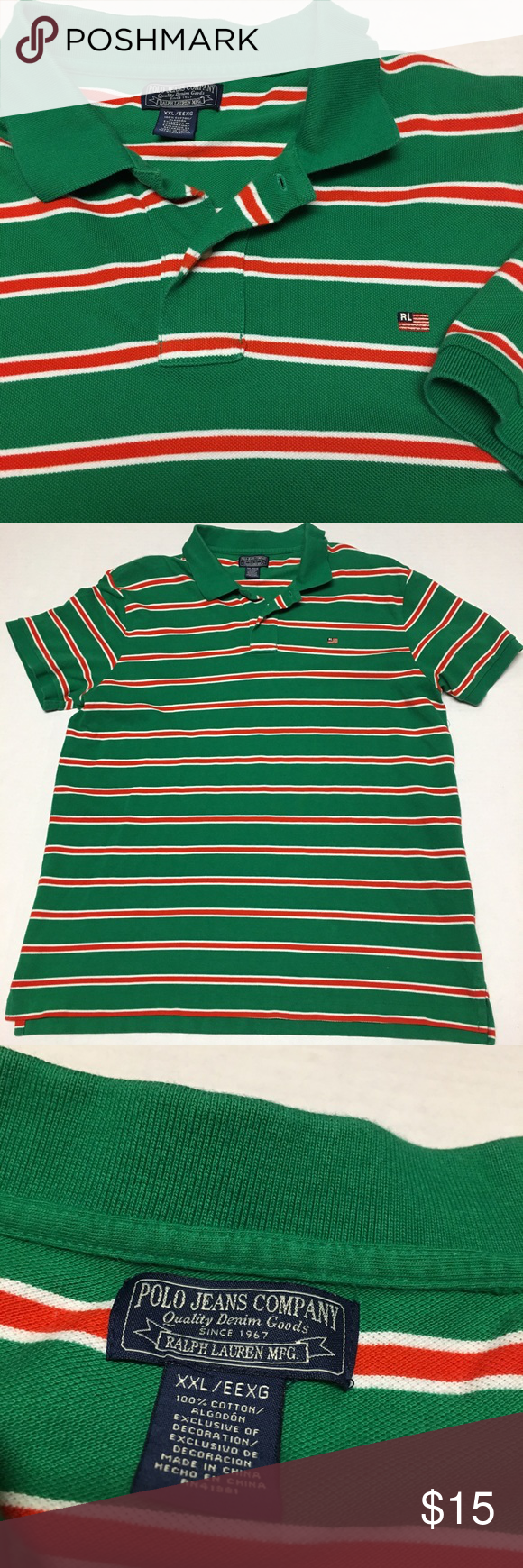 a36cfeab4843 ... italy vintage polo ralph lauren flag striped polo shirt fits like xl  but tagged as xxl