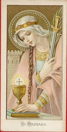 St Barbara Holy Card Image Pieuse Heiligenbild Vintage Holy Cards Catholic Images Catholic Art