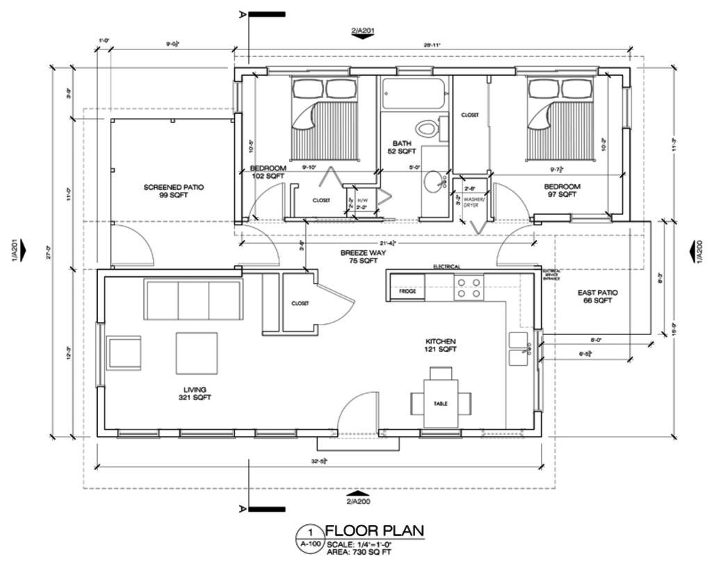Modern style house plan 2 beds 1 baths 730 sq ft plan 486 4 main floor plan houseplans com