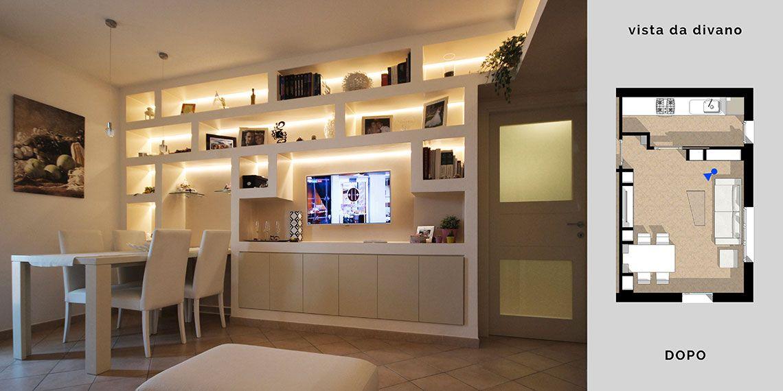 Arredare il soggiorno con cartongesso e legno in un for Parete soggiorno cartongesso