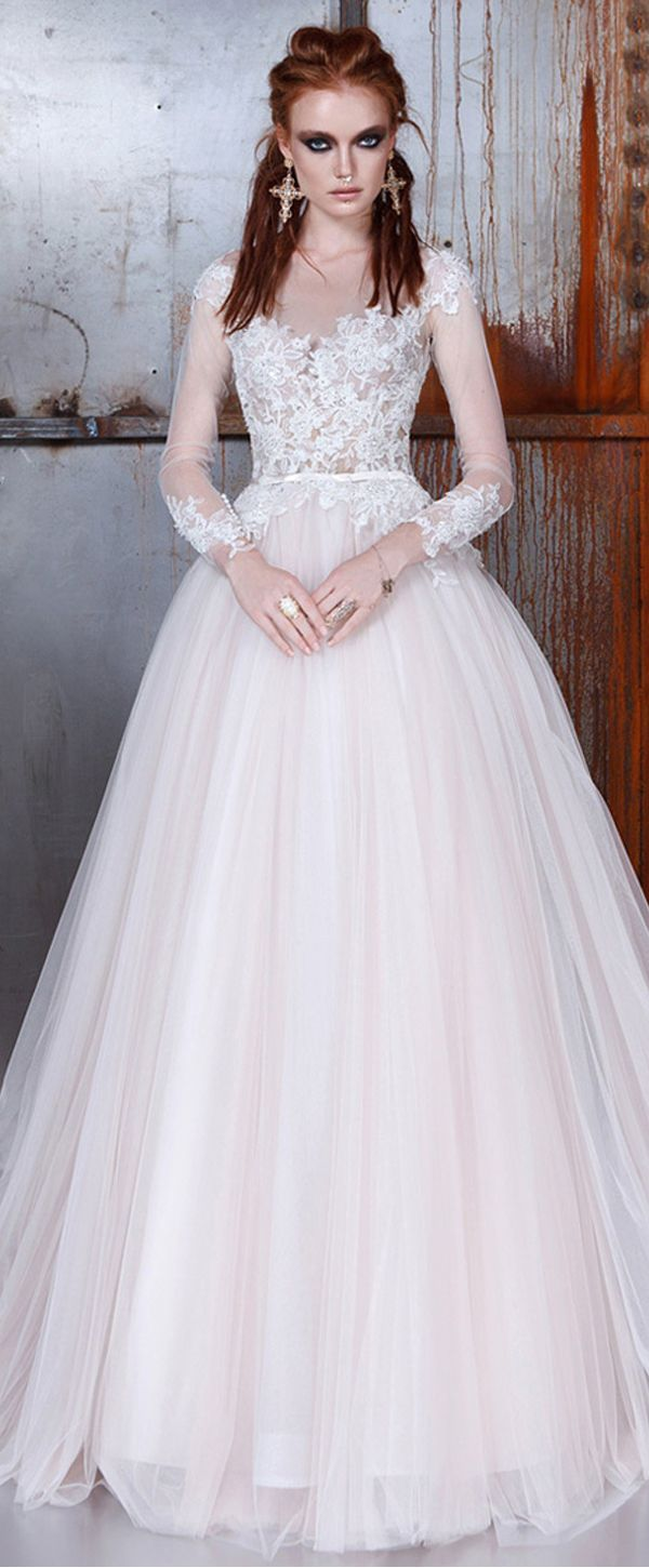 Romantic tulle jewel neckline ball gown wedding dresses with lace
