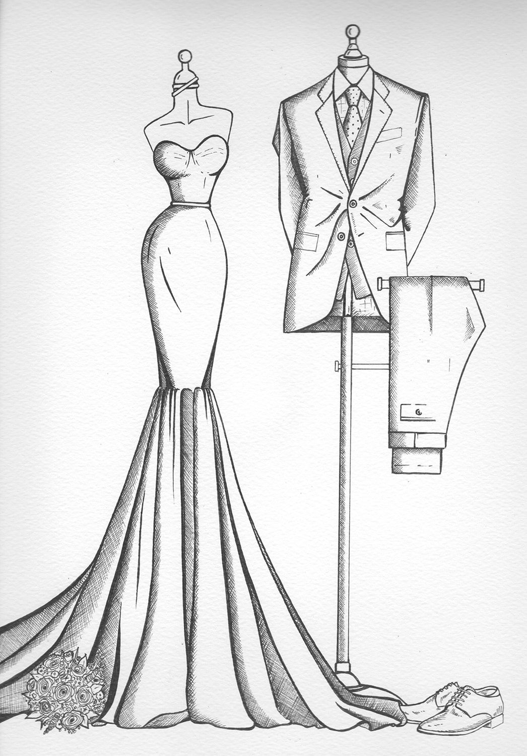 Photo of Wedding dress illustrations from Wedding Dress Ink