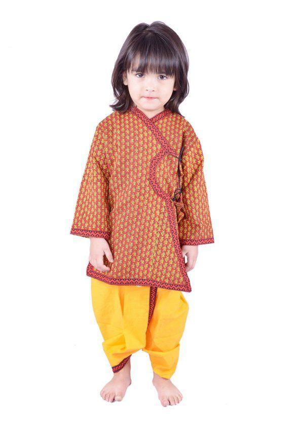 65b77bf92 Indian Dabu Print Saffron Dhoti Kurta