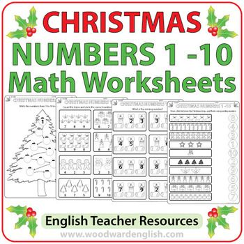 Christmas Math Worksheets In English Numbers 1 To 10 Christmas Math Worksheets Math Worksheets English Teacher Resources