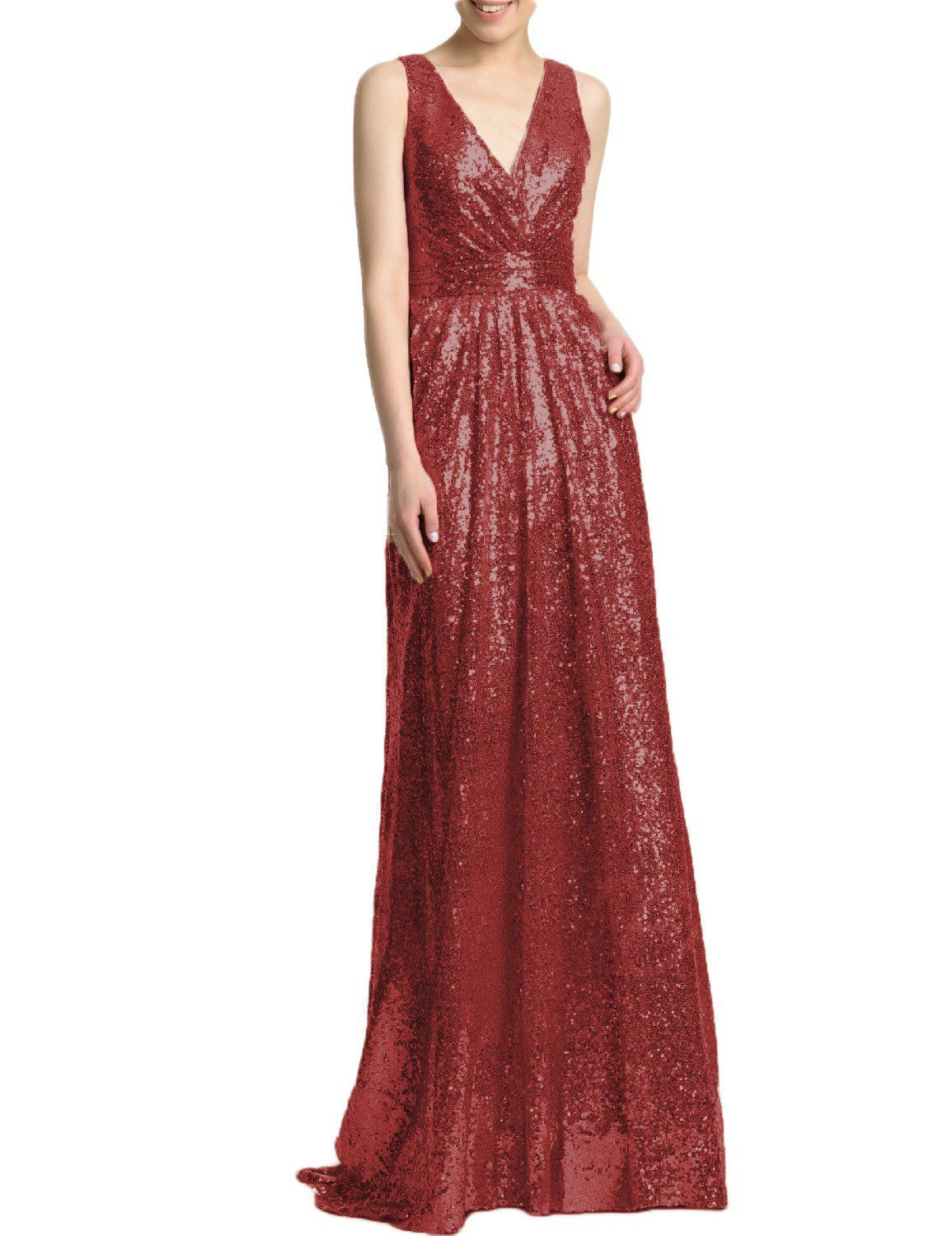 403375ce3ca BEAUTBRIDE Womens Sexy V Neck Sequin Bridesmaid Dress Long Prom Gown Rose  Burgundy 14   Take