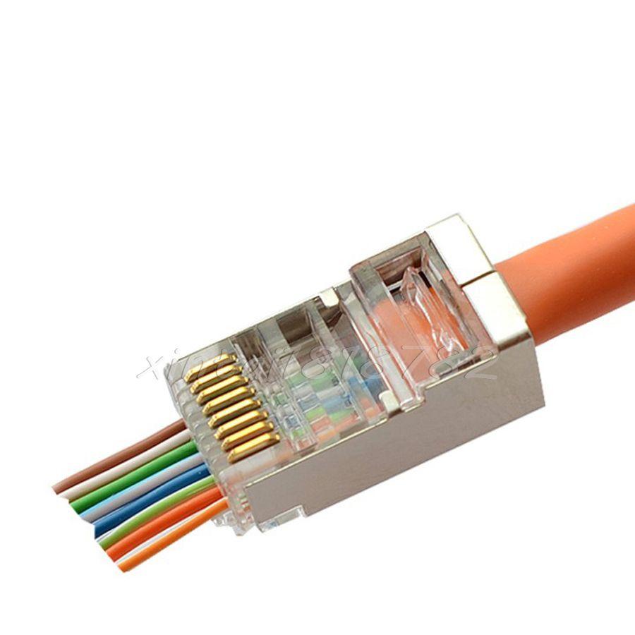 100 Pcs Cat5e RJ45 Network Modular Plug 8P8C Cable Connector