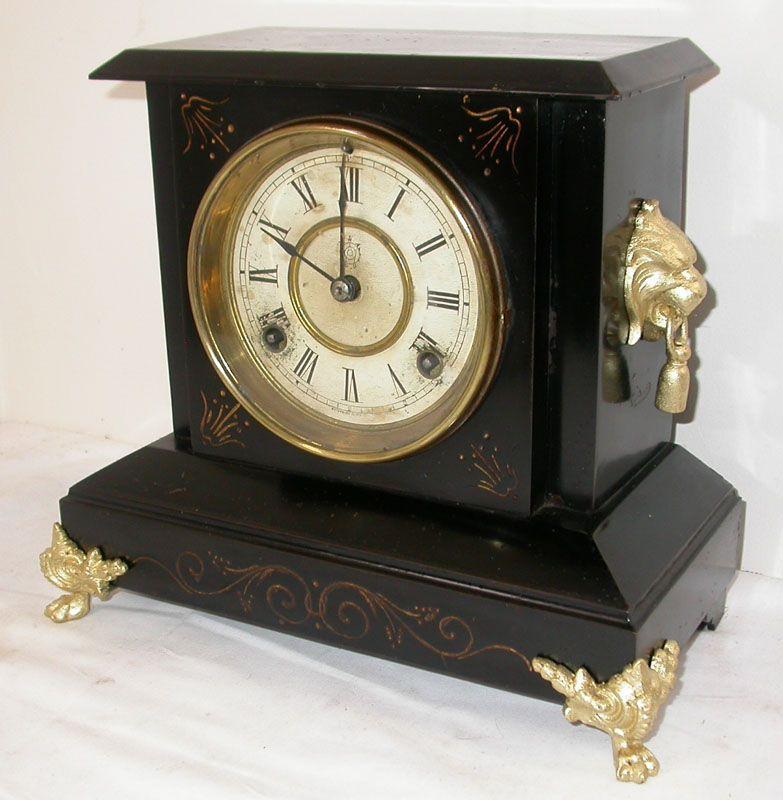 Antique Waterbury Lion Handle Black Steel Mantle Clock Clock