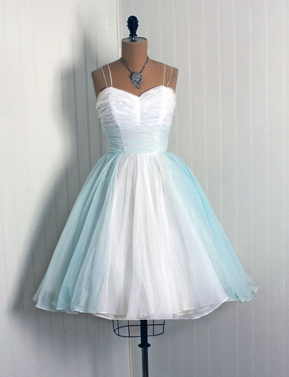 1950\'s Vintage Crisp-White & Baby-Blue Ruched Chiffon-Couture ...