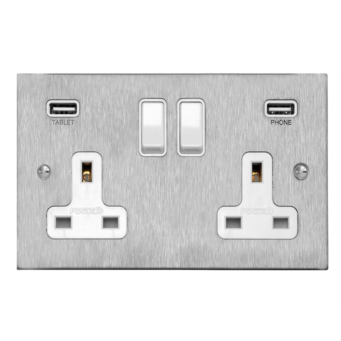 2 Gang Wall Socket Switch / USB Charger 2 gang 13 amp double socket ...