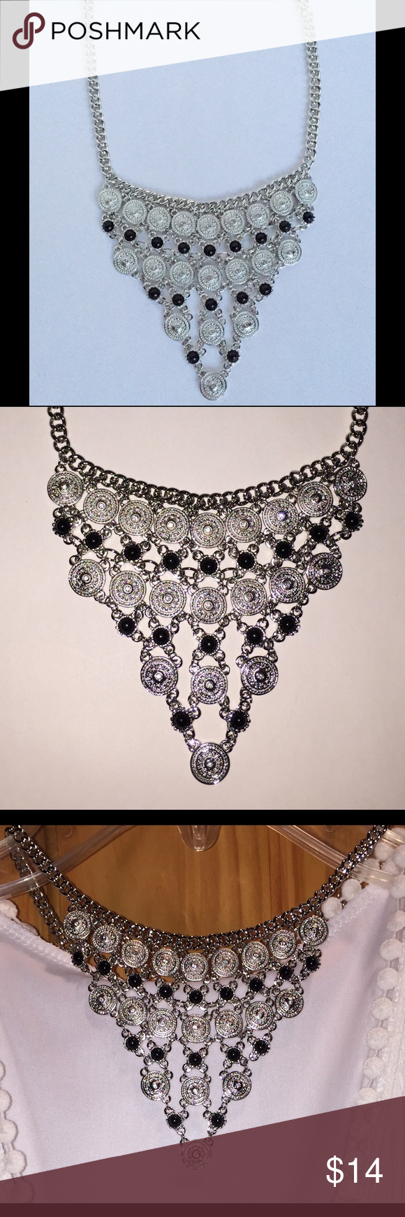 """SILVER & BLACK STATEMENT NECKLACE 18"""" This Necklace has is adjustable and about 18"""".  It's Urban Chic! NO TRADES! Jewelry Necklaces"""