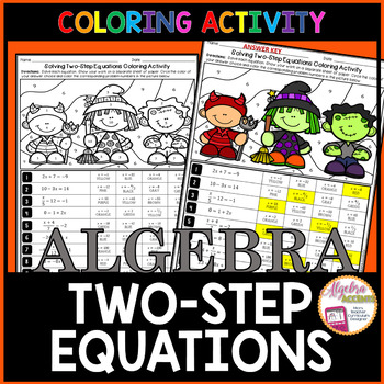 Solving Two Step Equations Halloween Algebra Activity Algebra Activities Two Step Equations Halloween Algebra