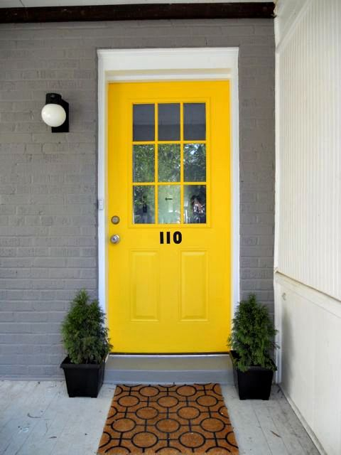 Like The Numbers On The Front Door Yellow Front Doors Bright Front Doors House Paint Exterior