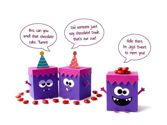 Birthday Cake Outline Printable ~ Diy monster favor boxes set of 3 violet monsters printable party