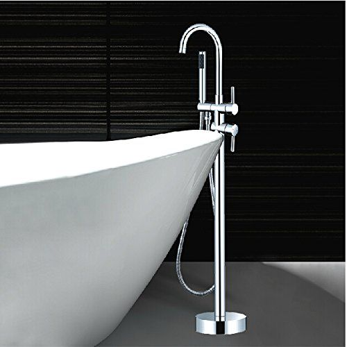 Rozinstanitary Chrome Floor Mounted Tub Faucet Mixer Tap With Hand