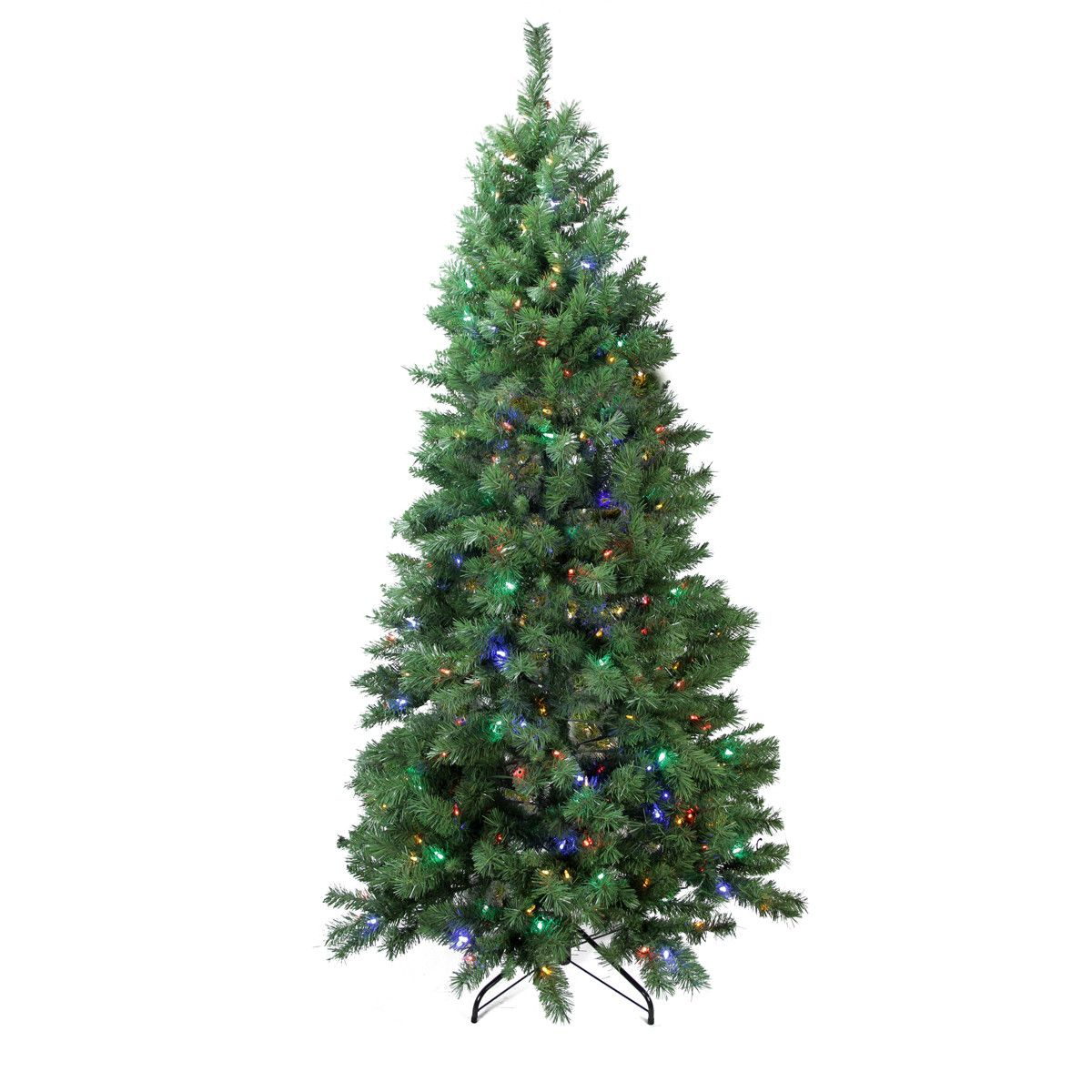 7\' Green Pine Artificial Christmas Tree with 350 LED Multi-Colored ...